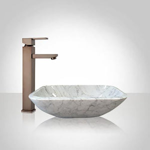 Lucin Smooth Polished Carrara Marble Vessel Sink