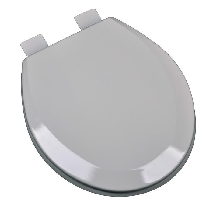 Molded Round Wood Toilet Seat - Silver