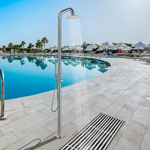 Muhlenberg Freestanding Stainless Steel Outdoor Shower with Hand Shower - Brushed Finish