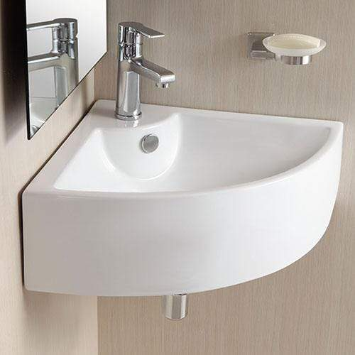 Osseo Vitreous China Wall Mount Corner Bathroom Sink Magnus Home Products