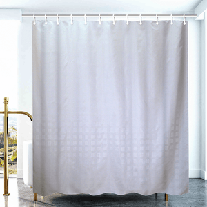 Polyester Grid Shower Curtain - White