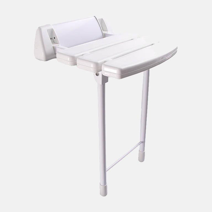 Rawlins Wall-Mount White Folding Shower Seat with Legs