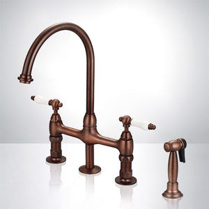 Saeby Bridge Kitchen Faucet with Brass Sprayer