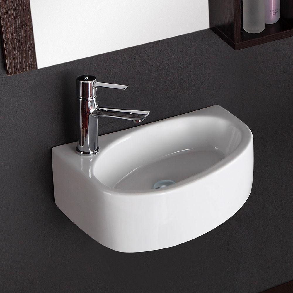 Saxon Vitreous China Wall Mount Bathroom Sink Left Side Faucet Drill Magnus Home Products