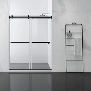 "Skyros 60"" W x 76"" H Double Sliding Frameless Shower Door in Matt Black"
