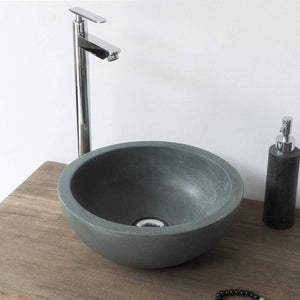 Small Sardis Round Cast Concrete Vessel Sink - Copper Green