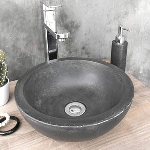 Small Sardis Round Cast Concrete Vessel Sink - Dusk Grey