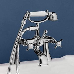 Standard Deck-Mount Tub Faucet with Metal Cross Handles, Porcelain Hand Shower and Offset Couplers