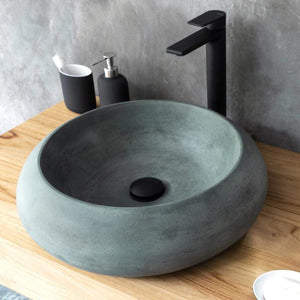 Suplee Round Cast Concrete Vessel Sink  - Copper Green