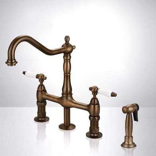 Thisted Bridge Kitchen Faucet with Brass Sprayer
