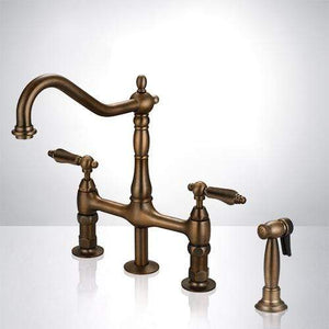 Thisted Oil Rubbed Bronze Bridge Kitchen Faucet with Brass Sprayer
