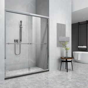 "Timor 60"" W x 76"" H Double Sliding Framed Shower Door in Chrome"