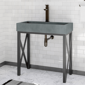 Toxey Rectangular Cast Concrete Vessel Sink - Copper Green - Vanity Unit