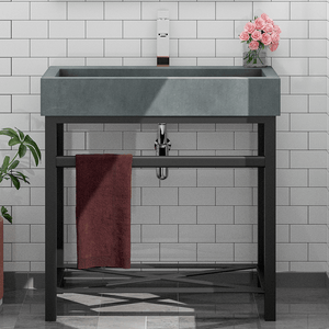Toxey Rectangular Cast Concrete Vessel Sink - Copper Green - Vanity Unit with Shelf and Towel Bar