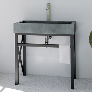 Toxey Rectangular Cast Concrete Vessel Sink - Copper Green - Vanity Unit with Towel Bar