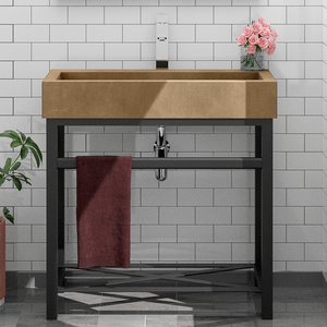 Toxey Rectangular Cast Concrete Vessel Sink - Vintage Brown - Vanity Unit with Shelf and Towel Bar