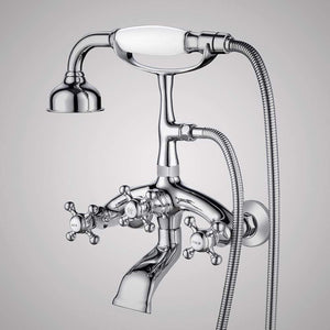 Traditional Bathroom Wall-Mount Tub Faucet with Hand Shower - Angular Body