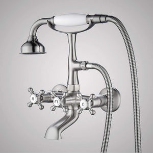 Traditional Bathroom Wall-Mount Tub Faucet with Hand Shower - Flat Body