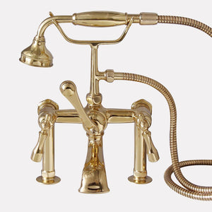 Traditional Deck-Mount Tub Faucet with Metal Hand Shower
