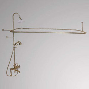 Traditional Deck-Mount Tub Faucet with Metal Hand Shower, Shower Rod, Riser and Shower Head
