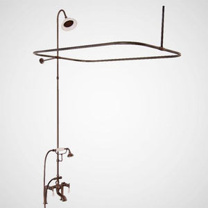 Traditional Deck-Mount Tub Faucet with Porcelain Hand Shower, Shower Rod, Riser and Shower Head