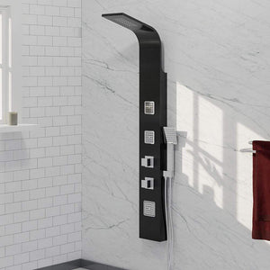Velva Thermostatic Shower Panel with Hand Shower - Black Finish