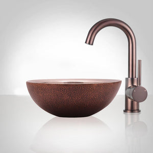 Vici Copper Vessel Sink - Hammered Exterior