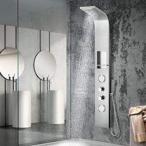 Weybun Thermostatic Stainless Steel Shower Panel with Hand Shower