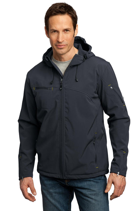 Port Authority® Textured Hooded Soft Shell Jacket. J706