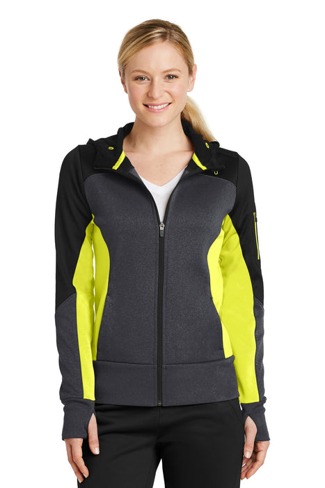 Sport-Tek® Ladies Tech Fleece Colorblock Full-Zip Hooded Jacket. LST245