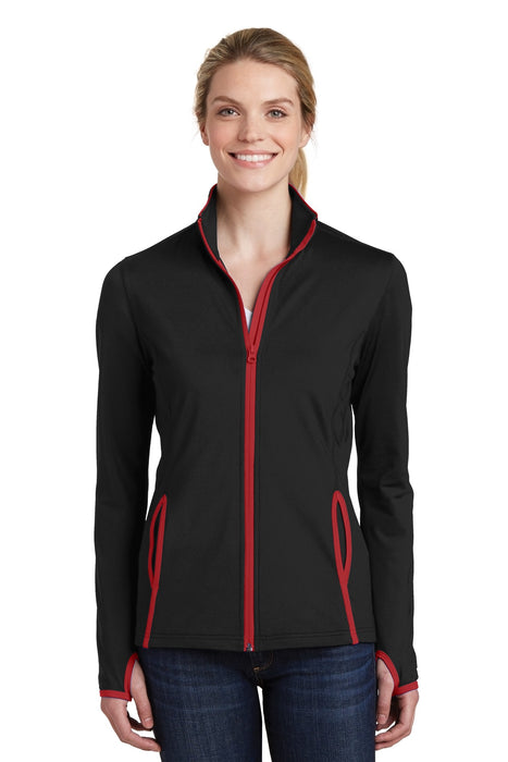 Sport-Tek® Ladies Sport-Wick® Stretch Contrast Full-Zip Jacket.  LST853