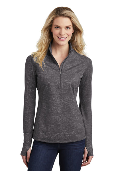Sport-Tek ® Ladies Sport-Wick ® Stretch Reflective Heather 1/2-Zip Pullover. LST855