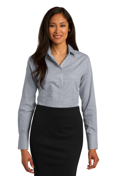 Red House® Ladies Windowpane Plaid Non-Iron Shirt. RH71