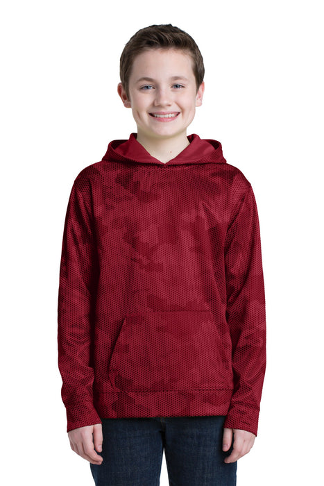 Sport-Tek® Youth Sport-Wick® CamoHex Fleece Hooded Pullover.  YST240