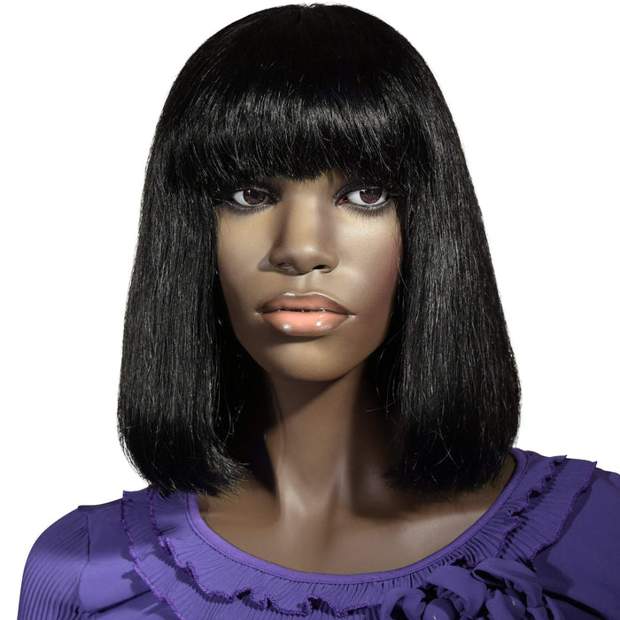 Carley: Custom Human Hair Full Lace Bob Wig with Bangs - De Novo Hair