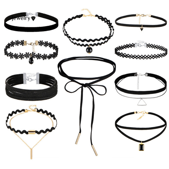 Stylish 10-Piece Choker Necklace Set