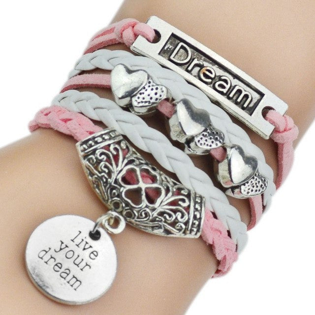 Bohemian Leather Bracelet - 7 Charms