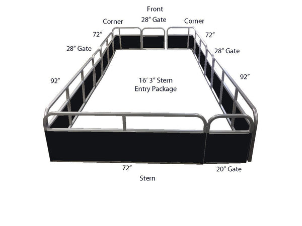 "18'3"" Stern Entry Fence Package - FenceForPontoons.com"