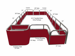 "18'3"" Sundeck Stern Entry Fence Package - FenceForPontoons.com"