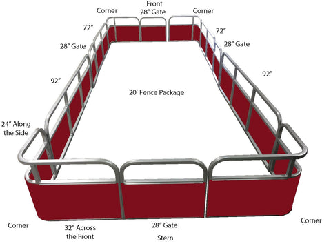 20' Pontoon Fence Package - FenceForPontoons.com