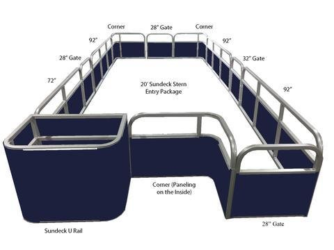20' Sundeck Stern Entry Fence Package - FenceForPontoons.com