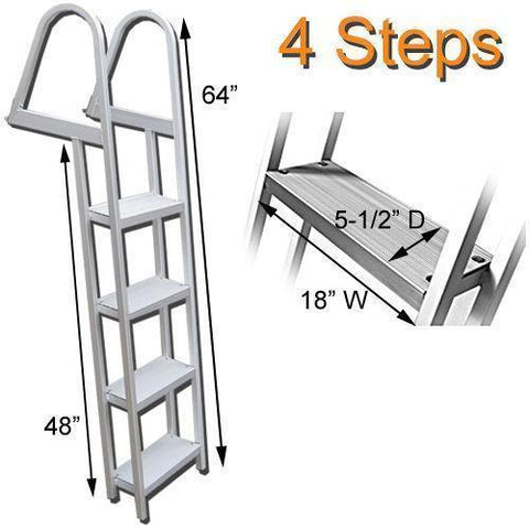 4 Step Traditional Dock or Pontoon Ladder - FenceForPontoons.com