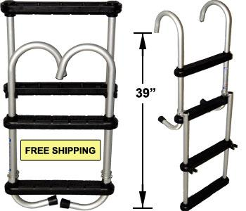 Economy Folding Pontoon Ladder - FenceForPontoons.com