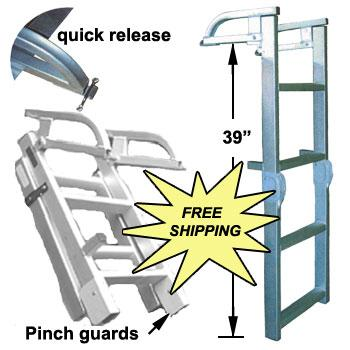 Folding Pontoon Ladder - FenceForPontoons.com