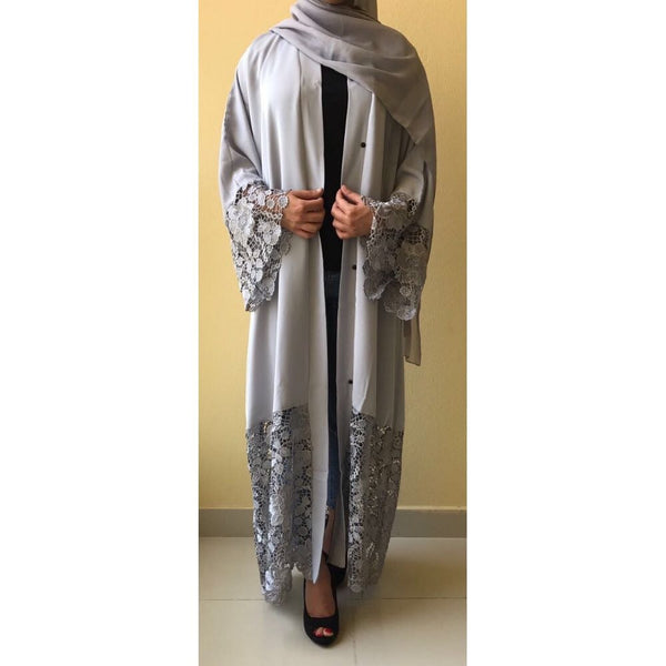 AMBER GREY LACE ABAYA - Husna Collections