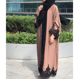 BROWN LACE ABAYA - Husna Collections