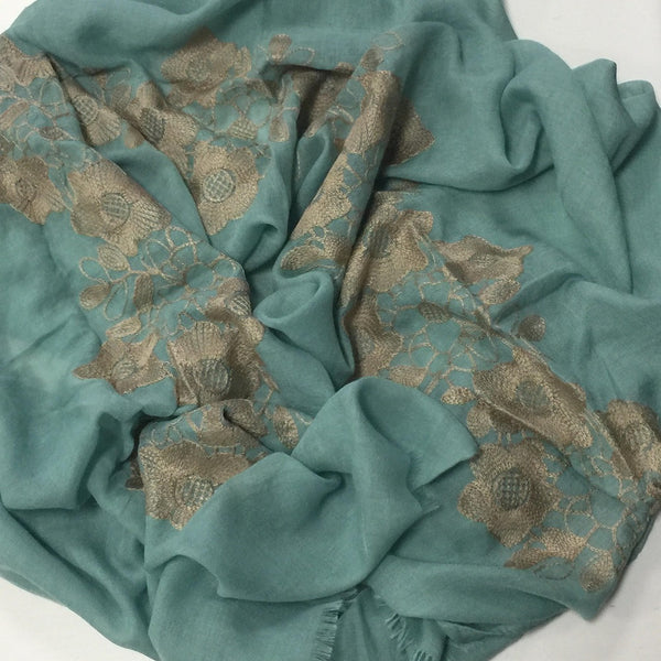 GOLD CROCHET SEA GREEN HIJAB - Husna Collections