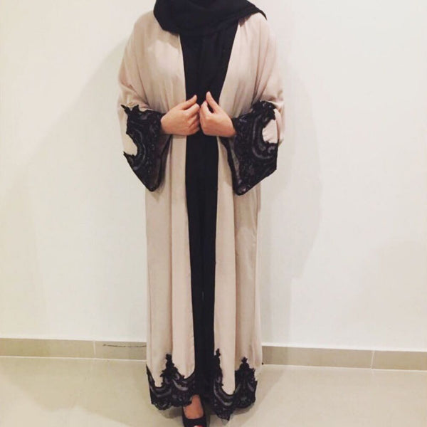 OPEN ABAYA CREAM LACE - Husna Collections