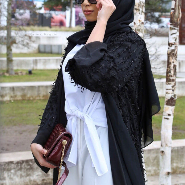 BLACK FRINGED ABAYA - Husna Collections