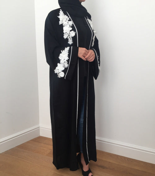 BLACK FLOWER OPEN ABAYA - Husna Collections